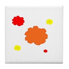 Orange Red Floral for Amy Tile Coaster