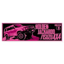 Pink Holden Jackeroo/isuzu Bumper Bumper Sticker