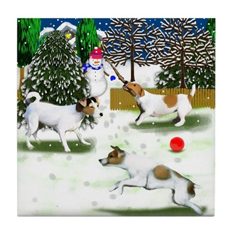 JACK RUSSELL TERRIER CHRISTMAS Tile Coaster