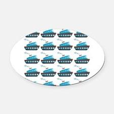 Cruise Ship Tug Boat Blue Red Oval Car Magnet