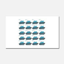 Cruise Ship Tug Boat Blue Red Car Magnet 20 x 12