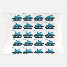 Cruise Ship Tug Boat Blue Red Pillow Case