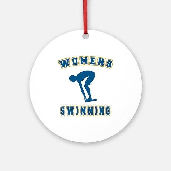 Blue Women's Swimming Logo Ornament (Round)