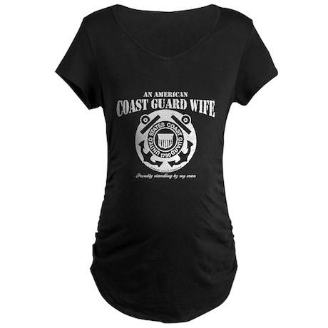 An American Coastie Wife Maternity Dark T-Shirt