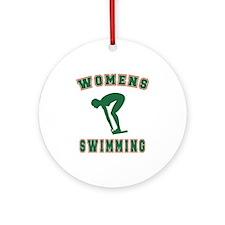 Green Women's Swimming Logo Ornament (Round)
