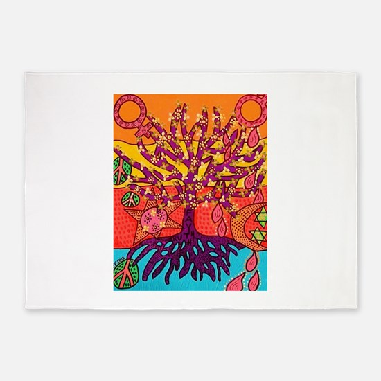 Tree Of Life Peace & Sorrow - Tree 5'x7'Area Rug