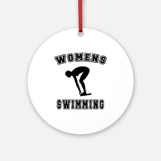 Black Women's Swimming Logo Ornament (Round)