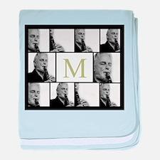 Photo Block with Monogram baby blanket