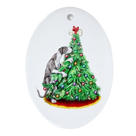 Great Dane Reach Goals Mantle UC Oval Ornament