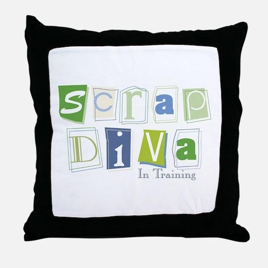 Scrap Diva (IT) Blue Throw Pillow