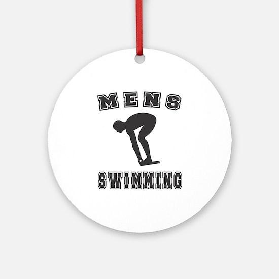 Black Men's Swimming Logo Ornament (Round)
