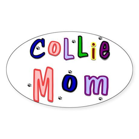 Collie Mom Oval Sticker