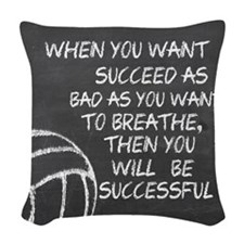 Successful Volleyball Motivati Woven Throw Pillow
