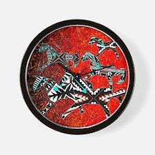 PUEBLO PONIES-DESERT FIRE Wall Clock