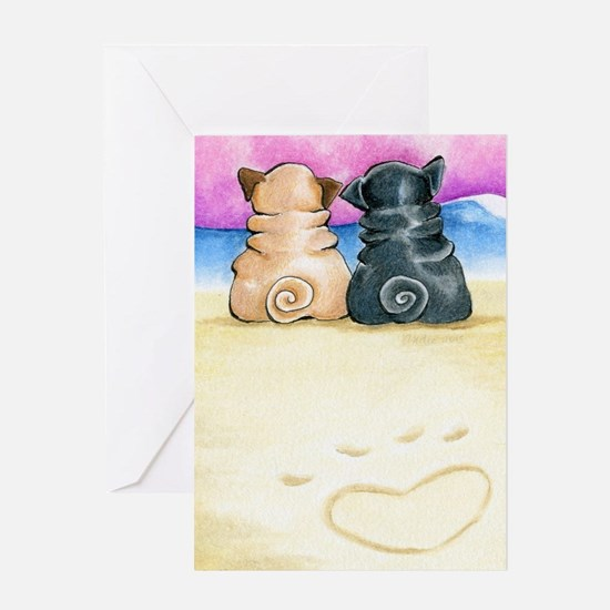 Shore Theyre Love Pugs Greeting Cards