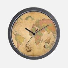 Ancient Mythology World Map Wall Clock