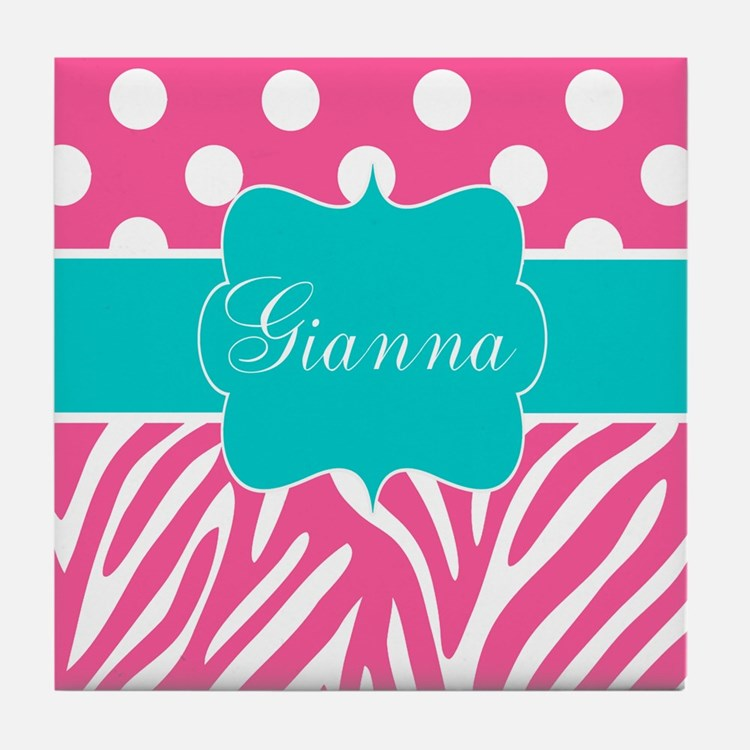 Pink Teal Dots Zebra Personalized Tile Coaster