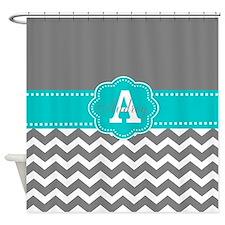 Gray Teal Chevron Monogram Shower Curtain