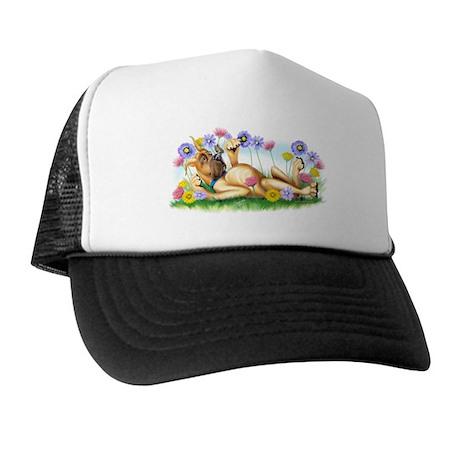 Great Dane Fawn Chasing Butterflies Trucker Hat