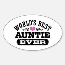 World's Best Auntie Ever Sticker (Oval)