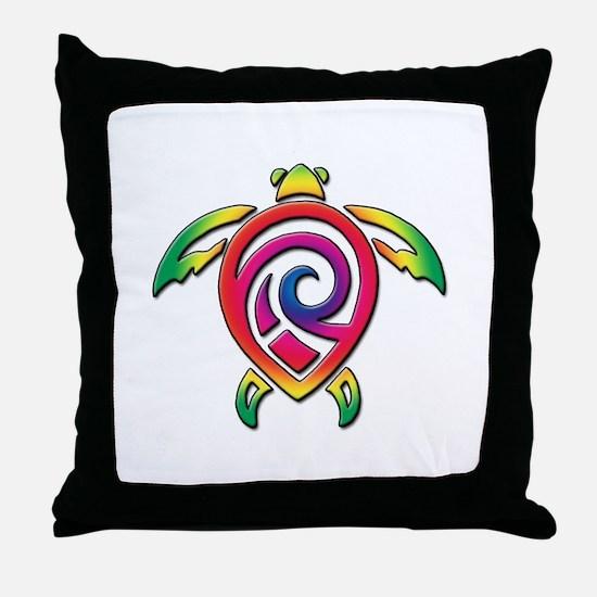 Rainbow Sea Turtle Throw Pillow