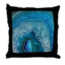 Blue geode quartz crystal druse druzy Throw Pillow