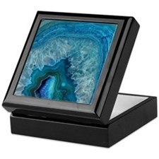 Blue geode quartz crystal druse druzy Keepsake Box