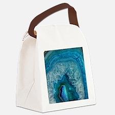 Blue geode quartz crystal druse d Canvas Lunch Bag