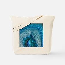 Blue geode quartz crystal druse druzy aga Tote Bag