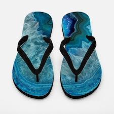 Blue geode quartz crystal druse druzy a Flip Flops