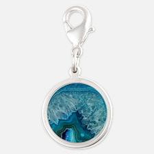 Blue geode quartz crystal drus Silver Round Charm