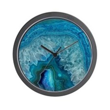 Blue geode quartz crystal druse druzy a Wall Clock