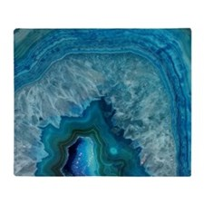 Blue geode quartz crystal druse druz Throw Blanket