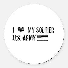 U.S. Army: I Love My Soldier Round Car Magnet