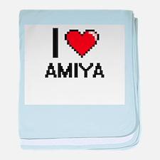 I Love Amiya baby blanket