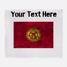Distressed Kyrgyzstan Flag (Custom) Throw Blanket