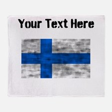 Distressed Finland Flag (Custom) Throw Blanket