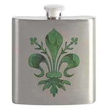 Irish Green Fleur de lis Flask