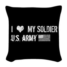 I Love My Soldier Woven Throw Pillow