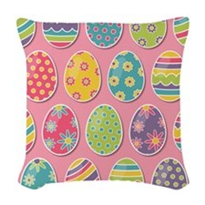 Easter Eggs Woven Throw Pillow