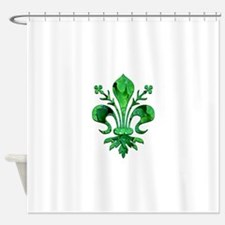 Irish Green Fleur de lis Shower Curtain