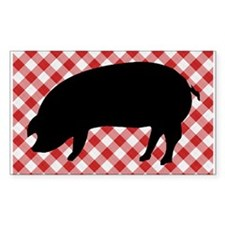 Black Pig Silhouette on Red and White Ging Decal