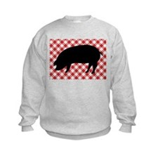 Black Pig Silhouette on Red and Wh Sweatshirt