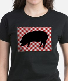 Black Pig Silhouette on Red and White Ging T-Shirt