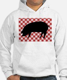 Black Pig Silhouette on Red and Hoodie