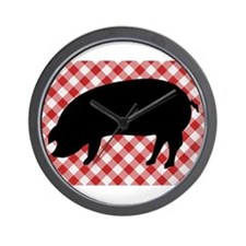 Black Pig Silhouette on Red and White G Wall Clock