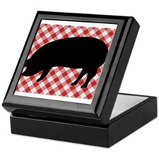 Black Pig Silhouette on Red and White Keepsake Box