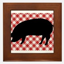 Black Pig Silhouette on Red and White Framed Tile