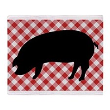 Black Pig Silhouette on Red and Whit Throw Blanket