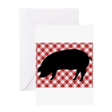 Black Pig Silhouette on Red and Whi Greeting Cards